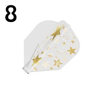 8 flight - Gold Star - Solid White - Shape (3pcs)
