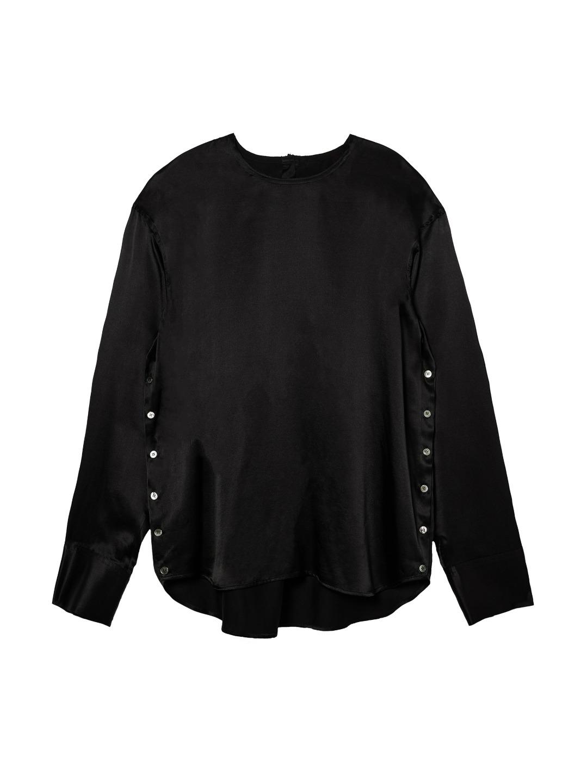 195. Silk-Blend Side Button Blouse / 실크-블랜드 사이드 버튼 블라우스