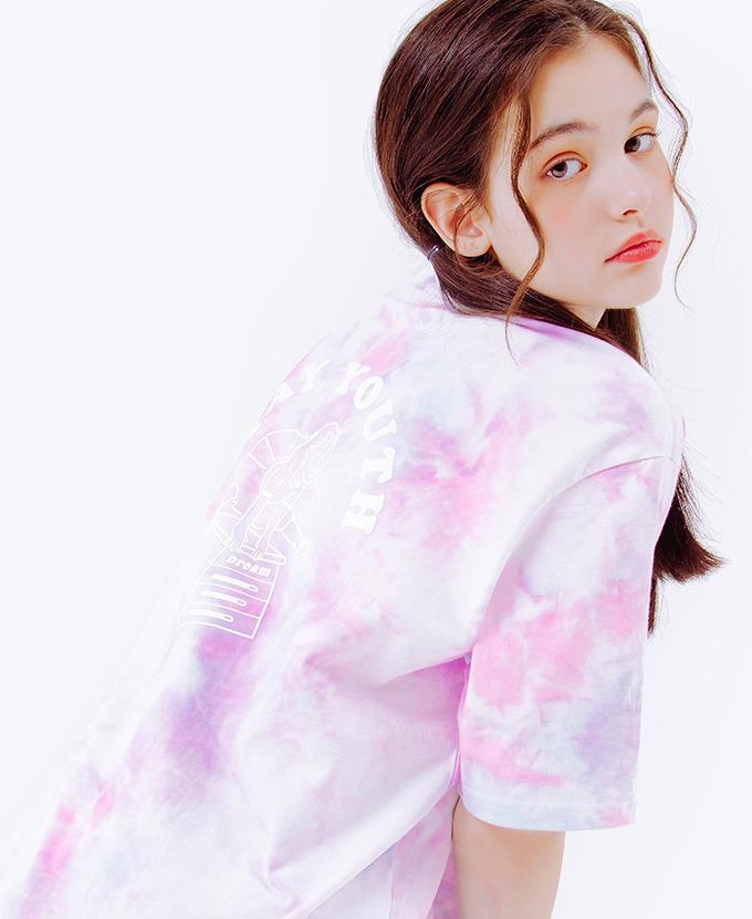 DAYLIFE JUMPING FRAME GIRL HALF T- SHIRTS (PINK/PURPLE)Tシャツ
