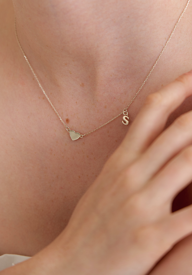 (Silver 925) initial and heart necklace