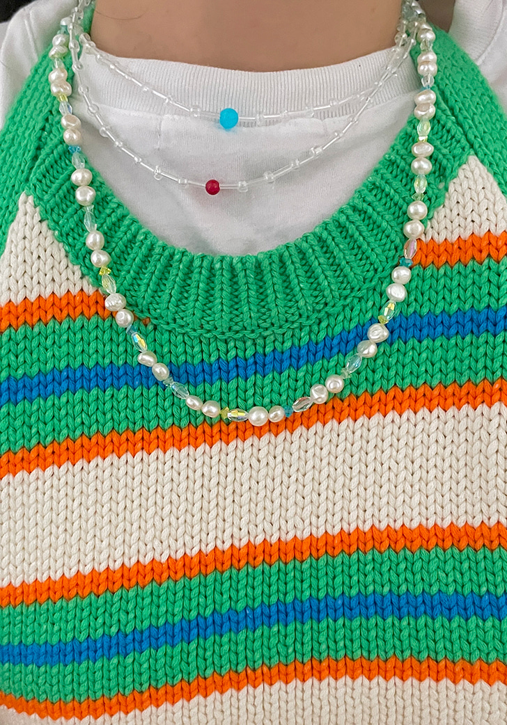 pearl pastel cut necklace (silver 925)