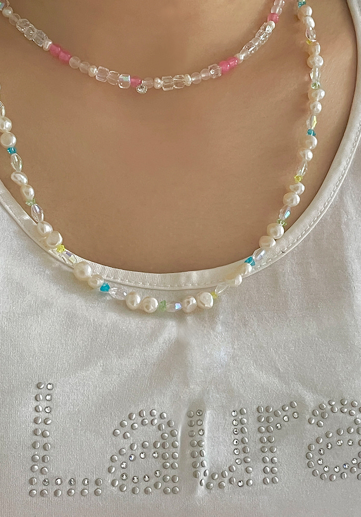 pink jade cubic necklace (silver 925)