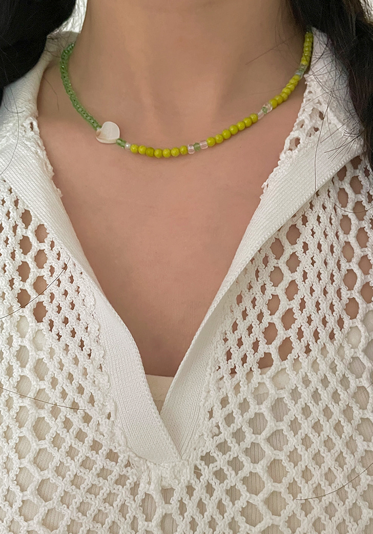 green and lucky necklace (silver 925)