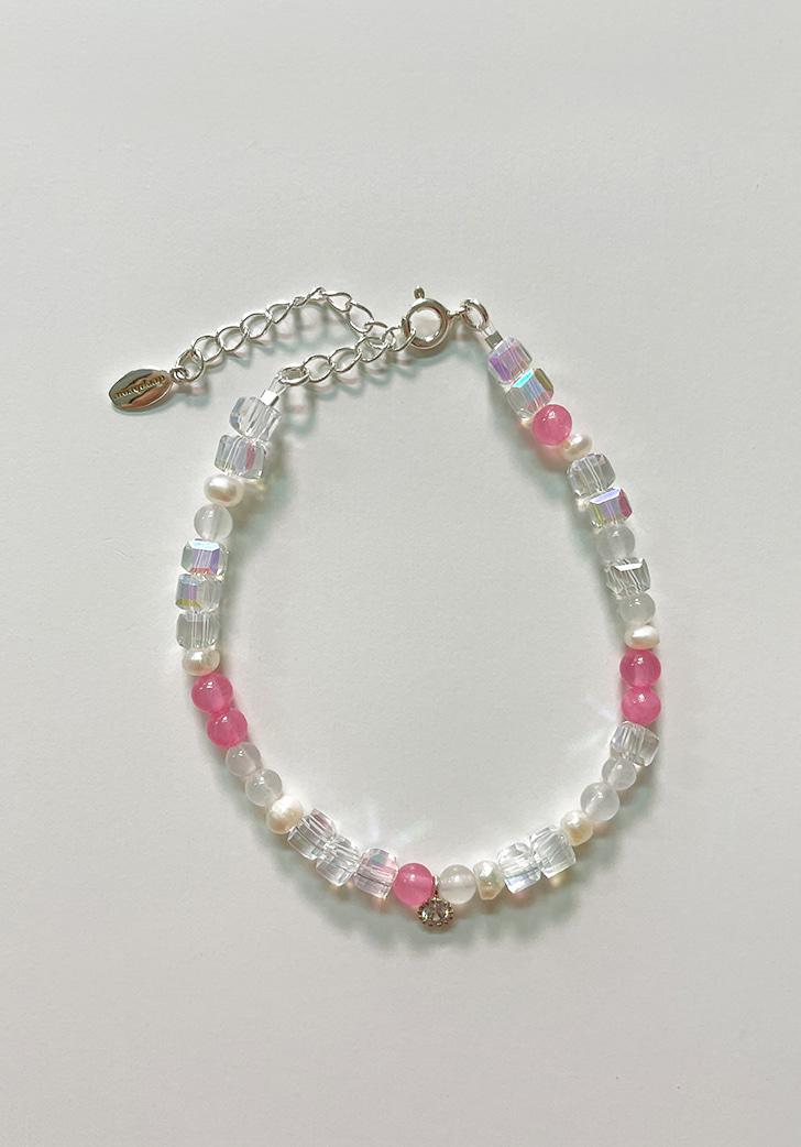 pink jade cubic bracelet (silver 925)