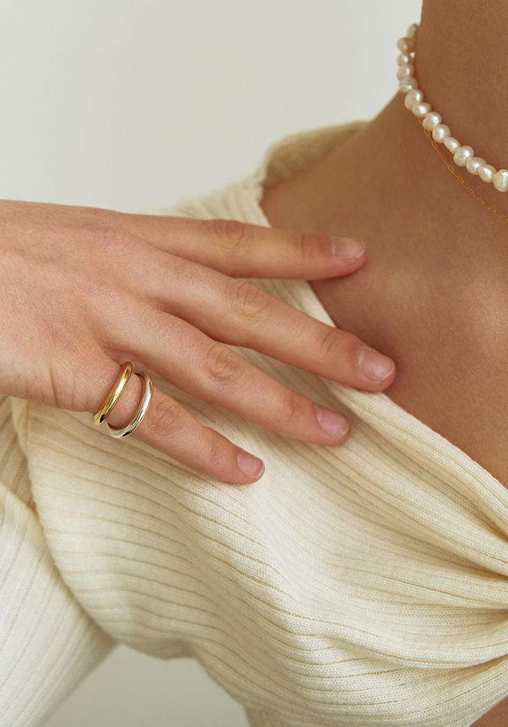 (Silver 925) slim plain ring (2 colors)