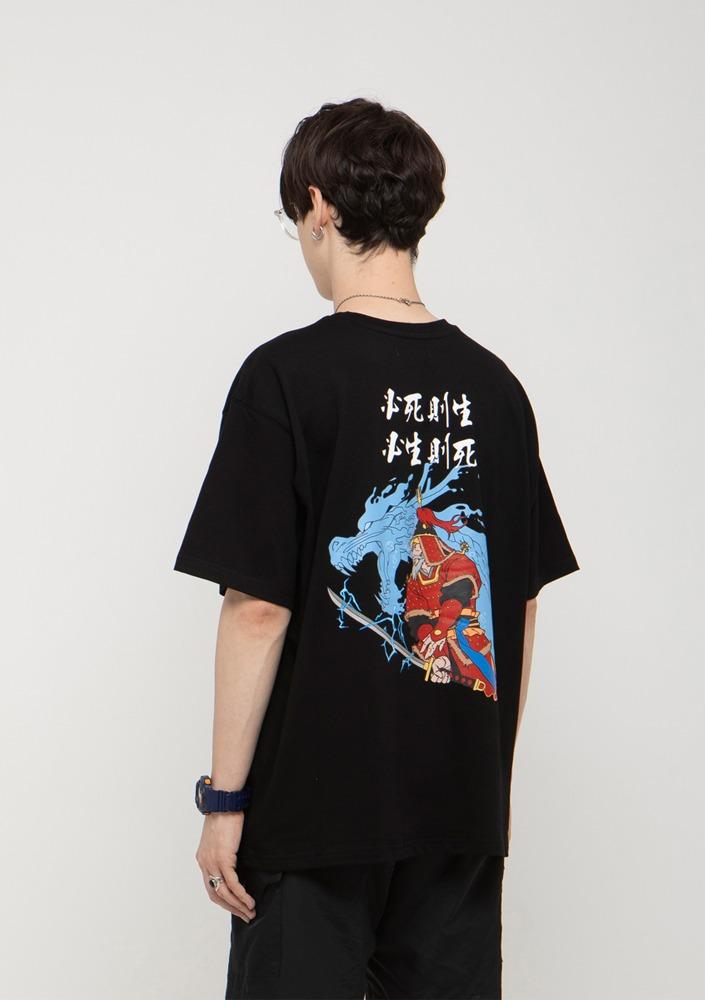 자체브랜드[드네이지] 충무공 이순신 장군 오버핏 반팔티 블랙_0129