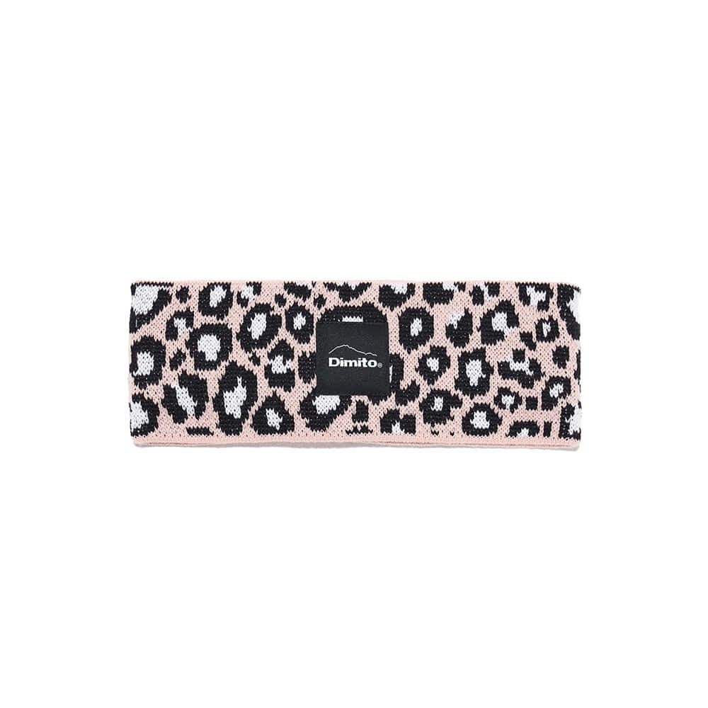 LEOPARD KNIT HAIRBAND PINK