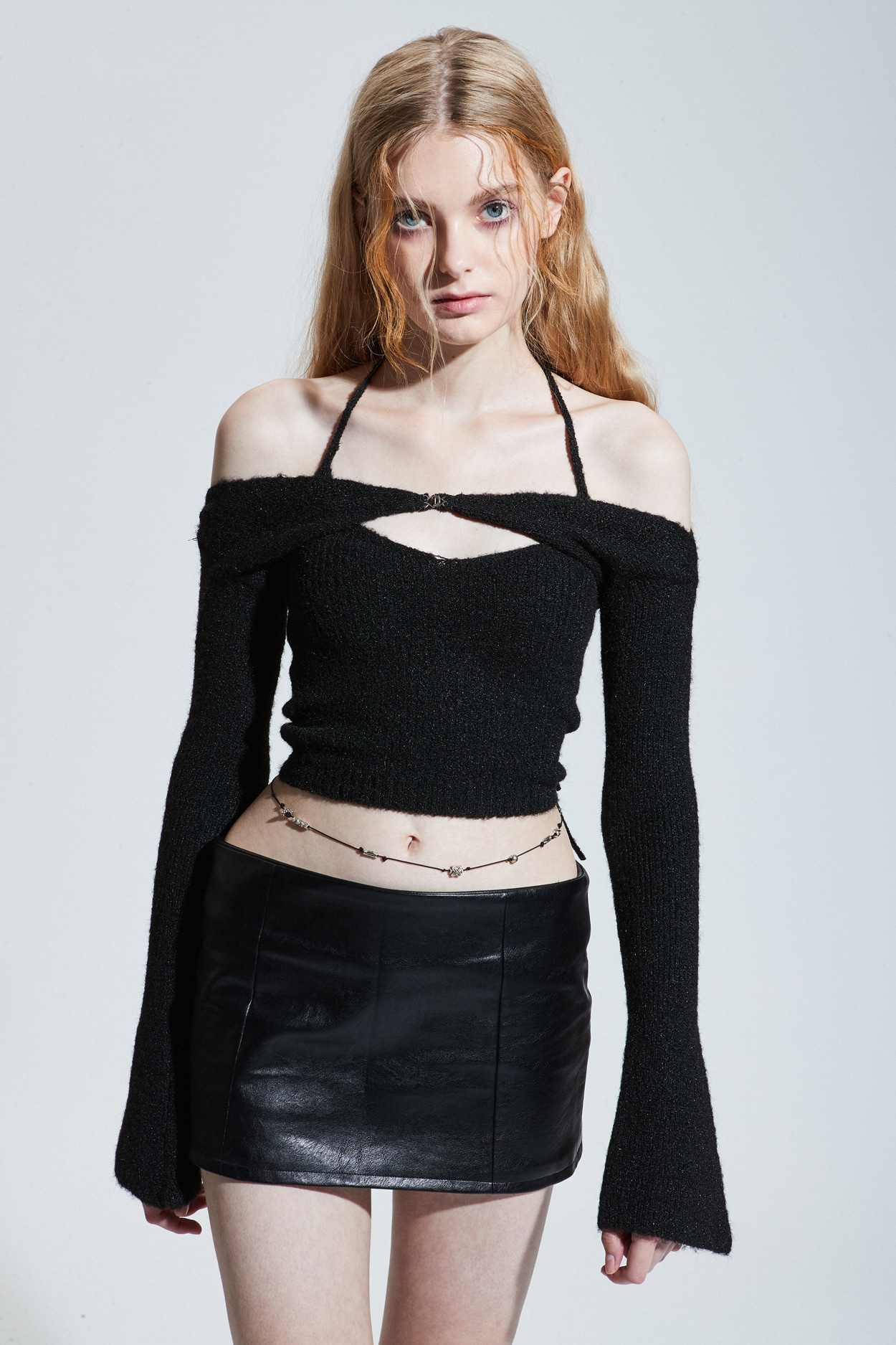 LOW-RISE MINI SKIRT_leather black [Oct.15th Pre-order delivery]