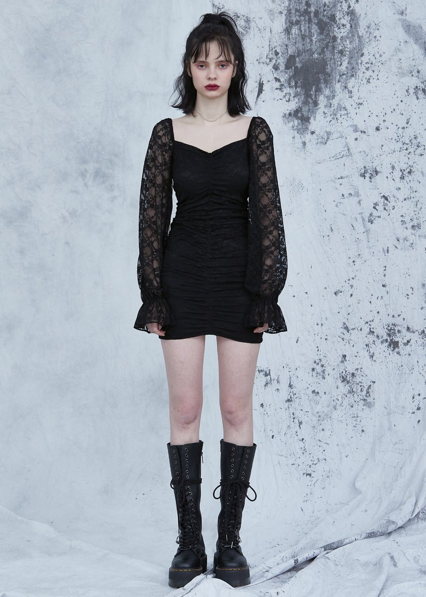 LACE SHIRRING ONEPIECE black