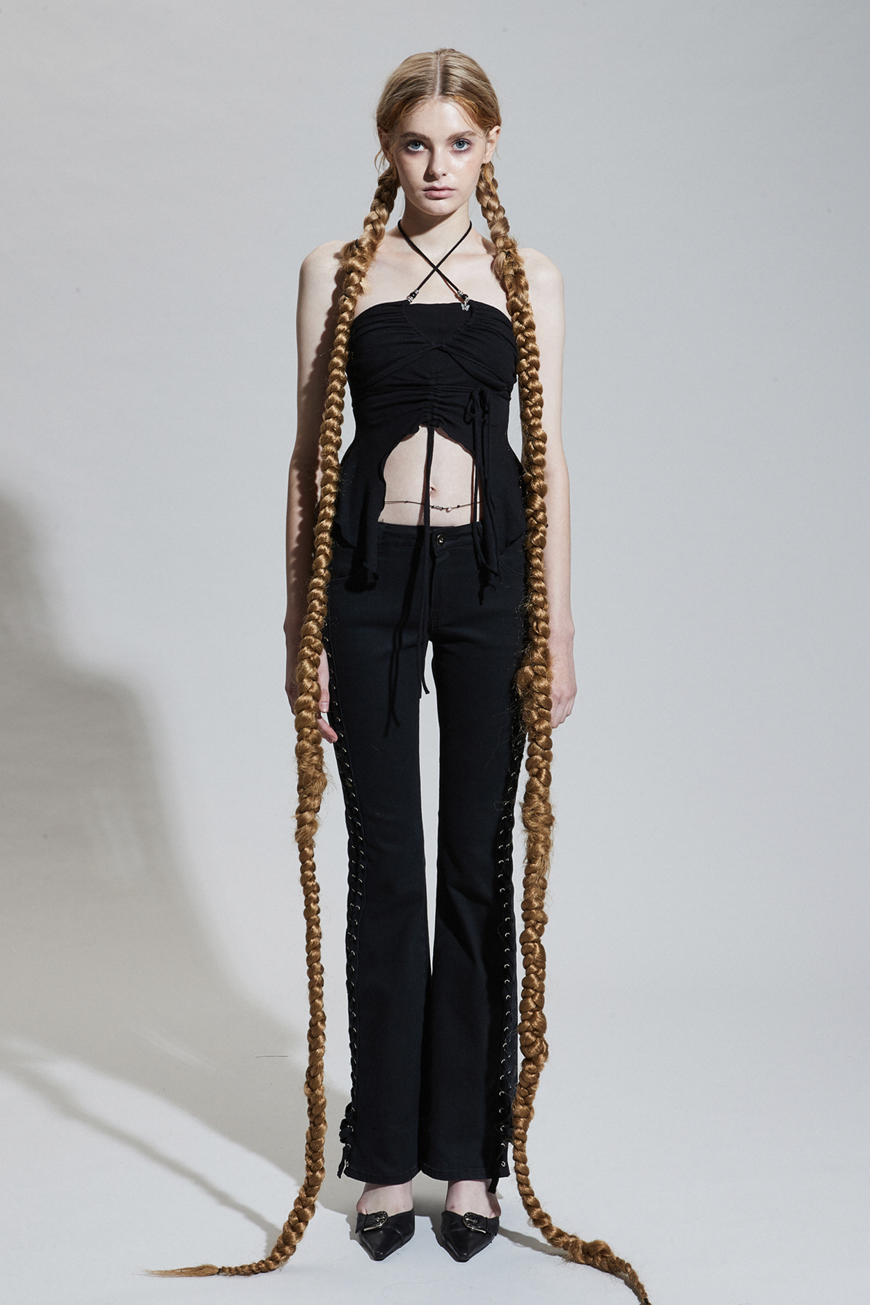 SIDE CORSET PANTS black [Sep.23th Pre-order delivery]