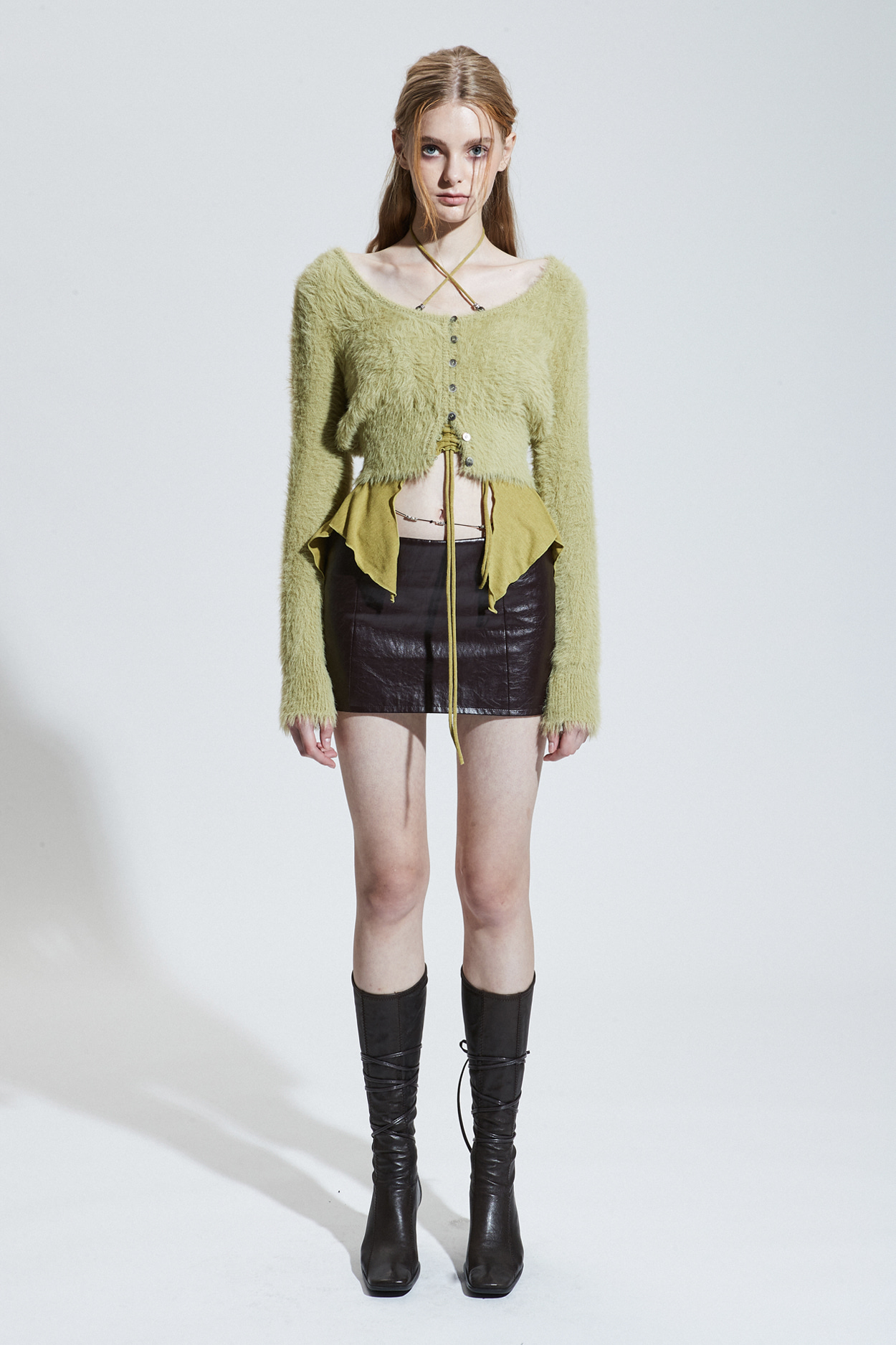 LOW-RISE MINI SKIRT_leather brown [Oct.15th Pre-order delivery]