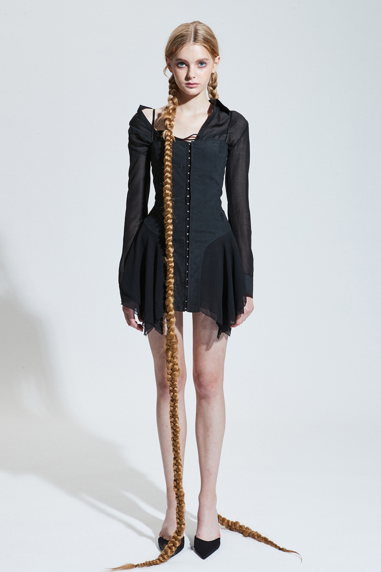 NYMPH DRESS_suede black [Oct.15th Pre-order delivery]