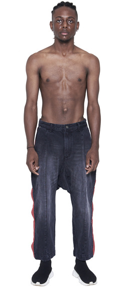 DROPPED CROTCH SIDE SNAPS JEANS  (WASHED BLACK)