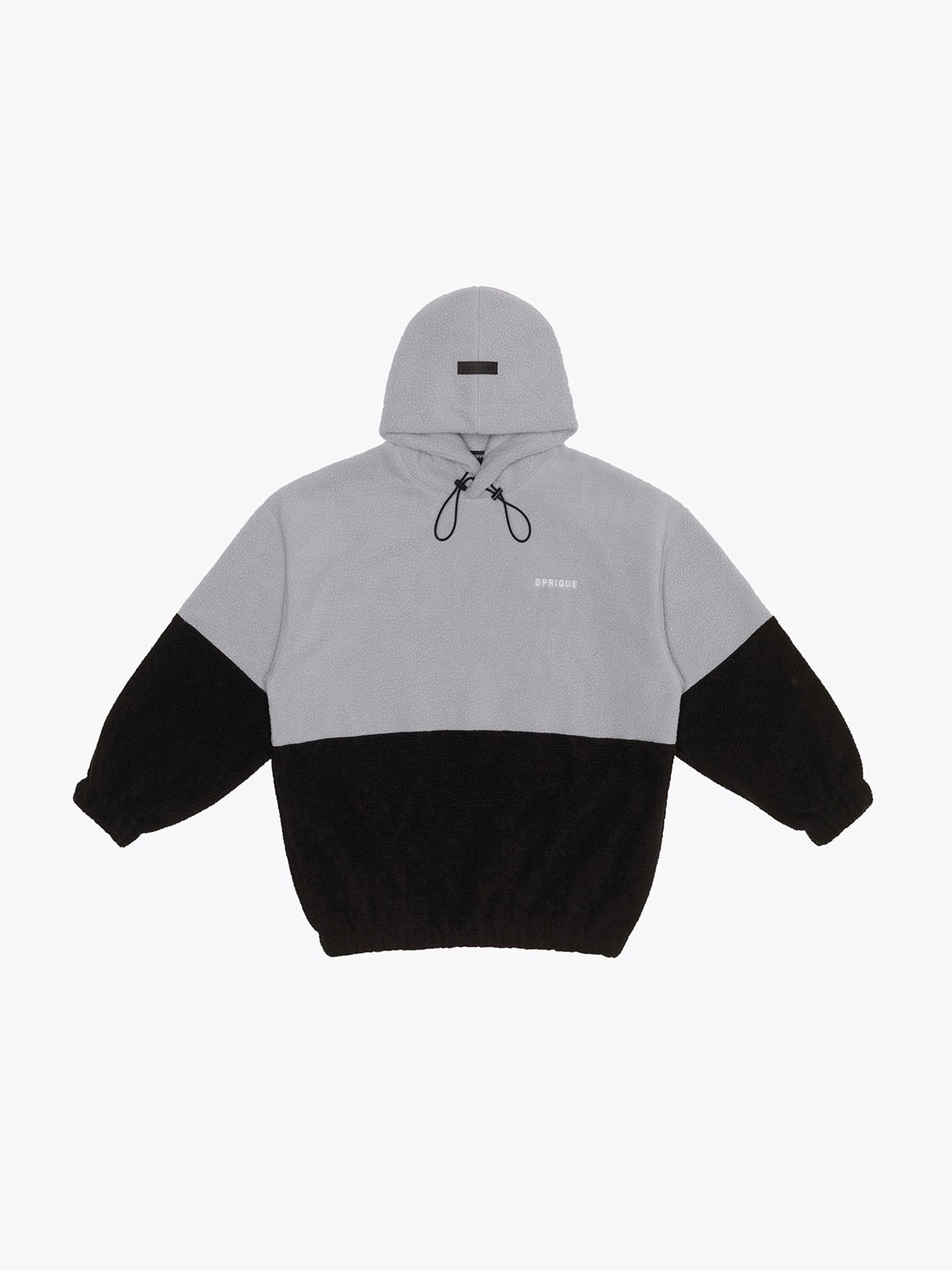 Oversized Fleece Hoodie - Grey/Black