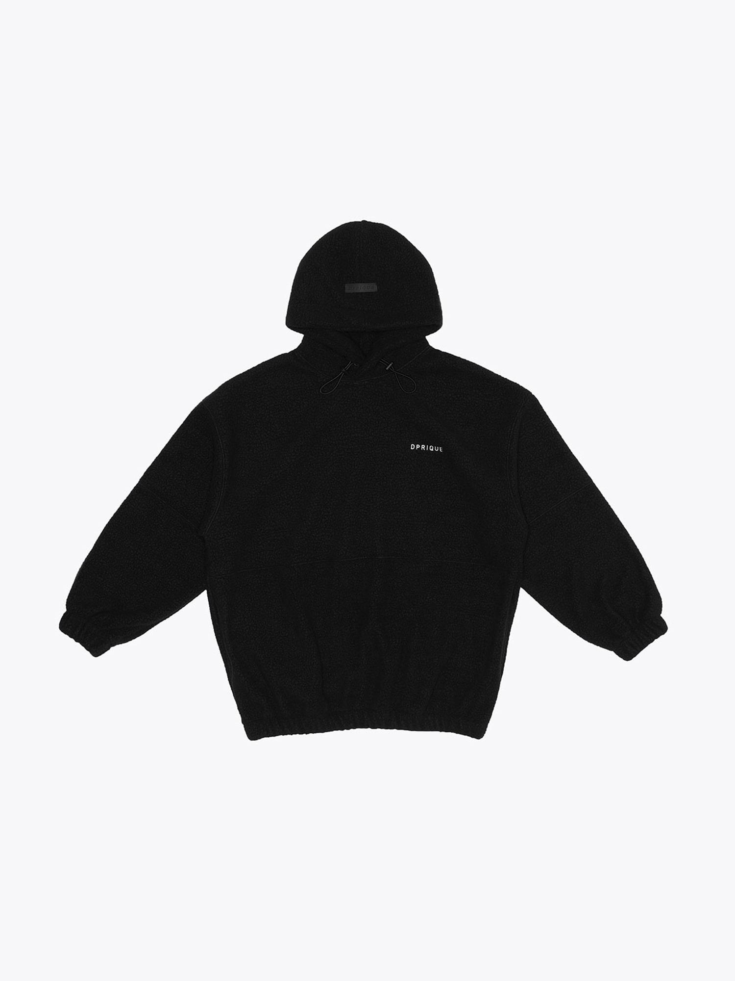 Oversized Fleece Hoodie - Black