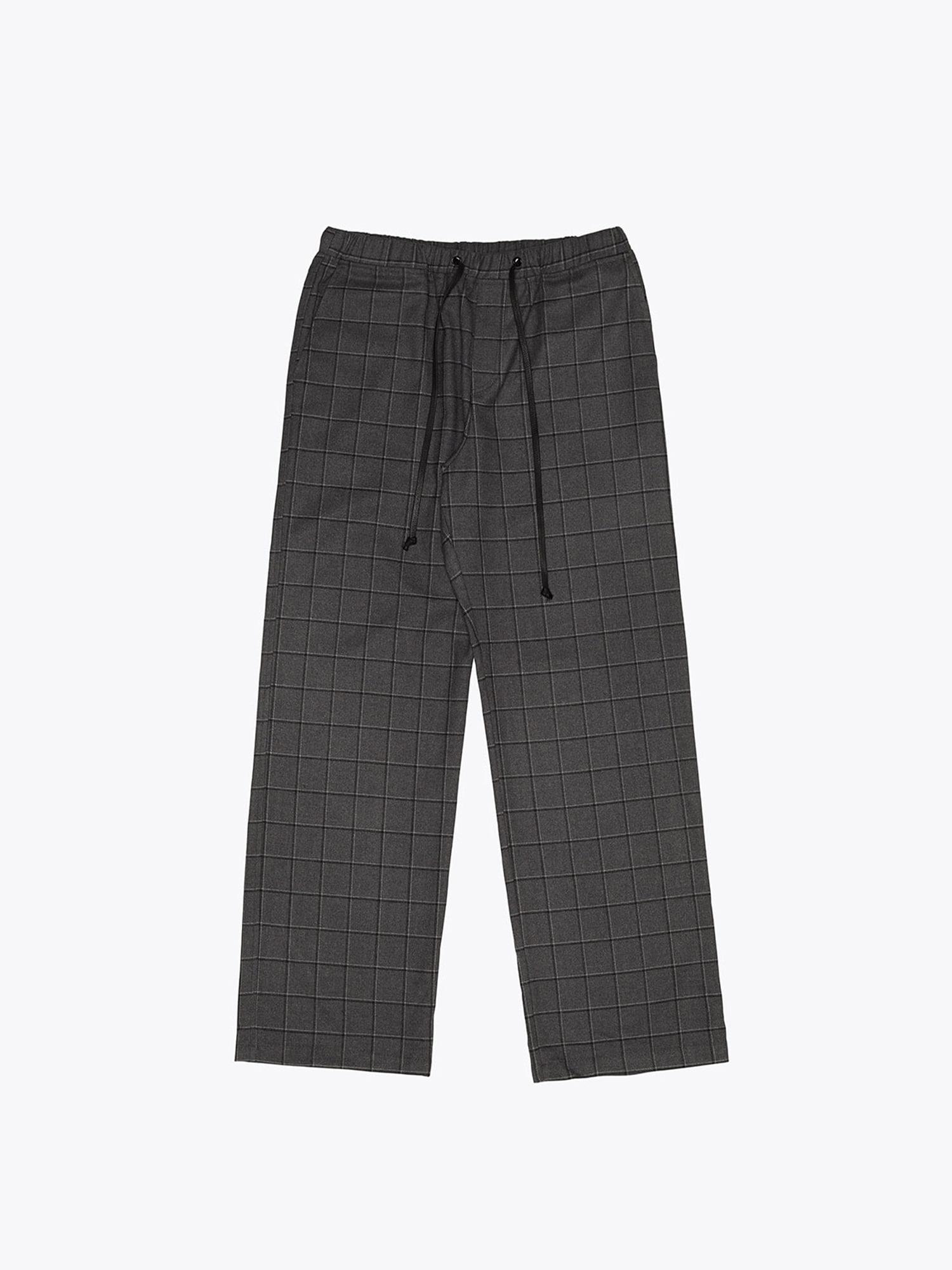 Wide Check Pants - Grey