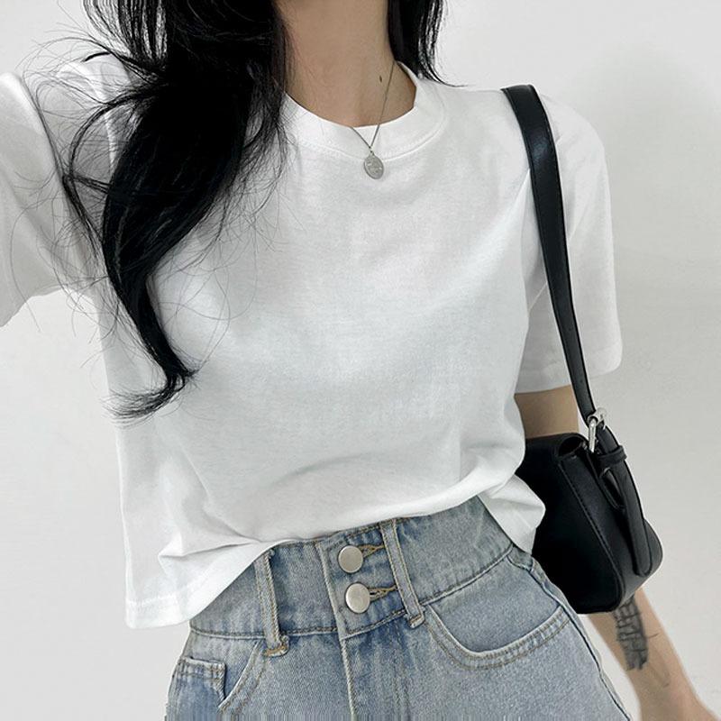 [basic/10color] 소프트 컬러 크롭 반팔 티셔츠