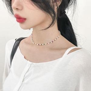 [MD추천]키치한 무드,컬러 비즈 진주목걸이