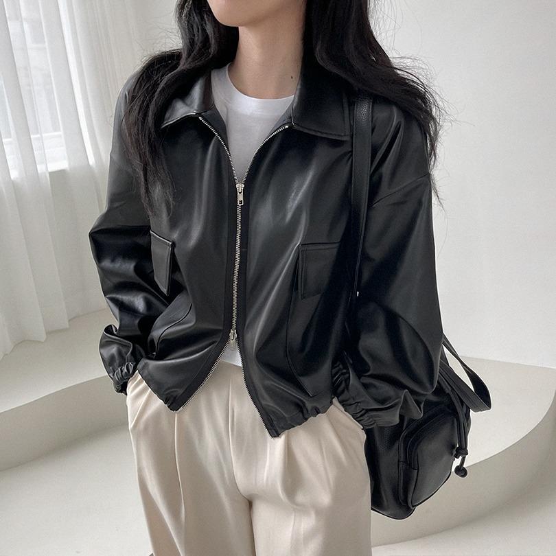 [핏조절가능!] 3color 투웨이 레더 카라 크롭 자켓
