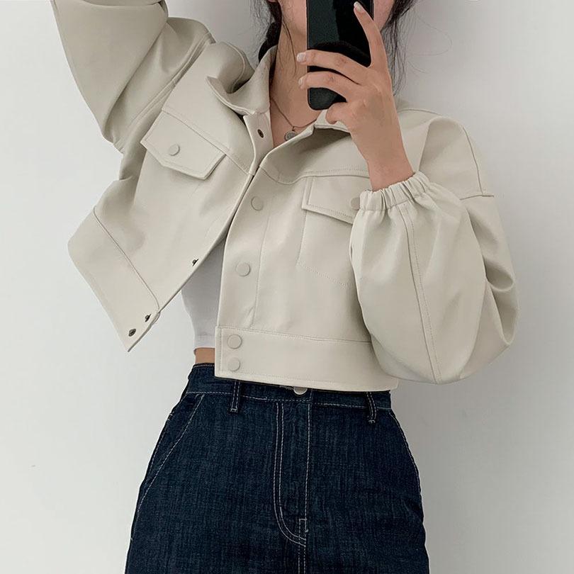 크롭한 매력의 [오버핏]머랭 밴딩 레더 자켓