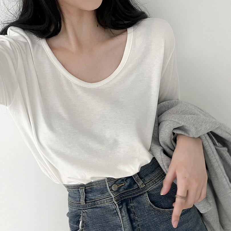 1+1할인 [기모/딱예쁜파임!] 8color 쫀쫀 U넥 루즈 티셔츠