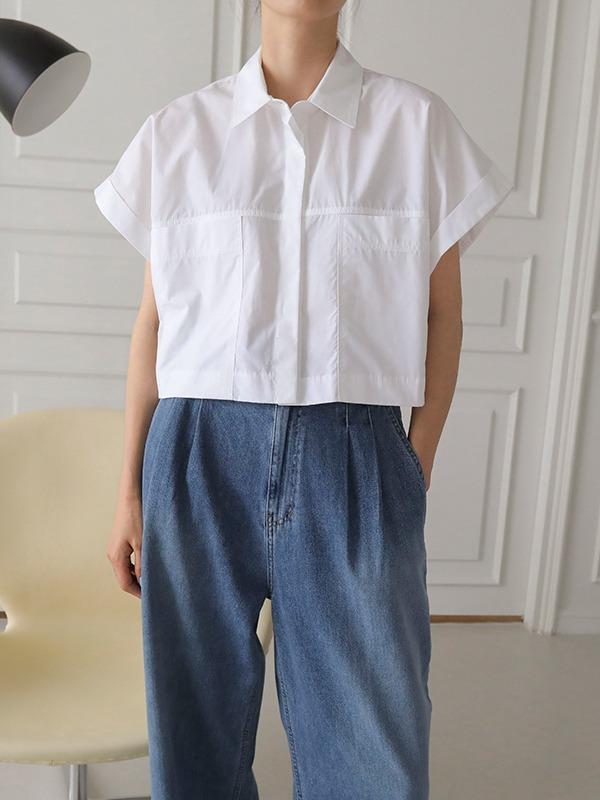 모노 크롭 셔츠