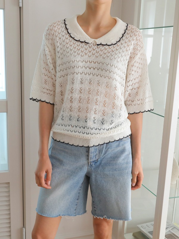 Perforated Collared Knit Top