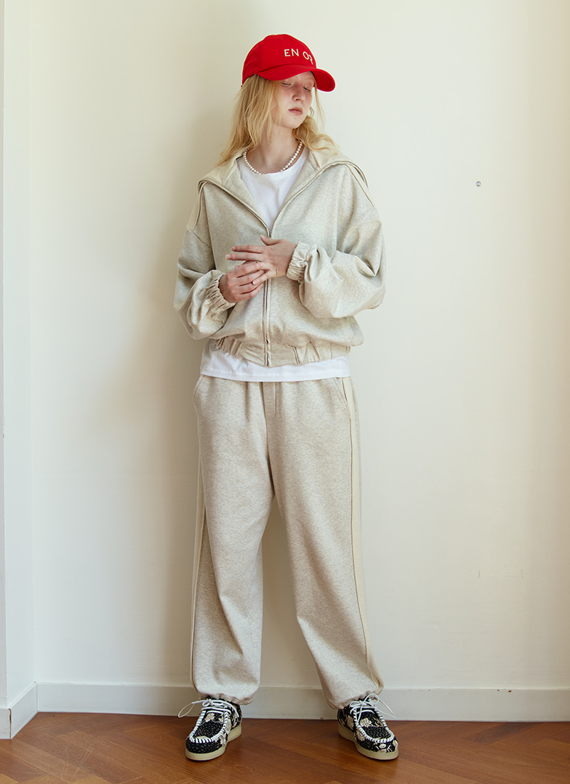 TWO TONE ZIP-UP - IVORY