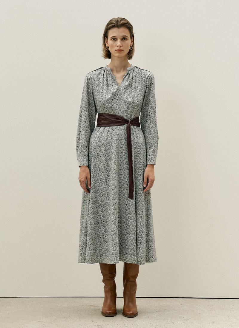 BELT POINTED FLORAL DRESS - BLUE