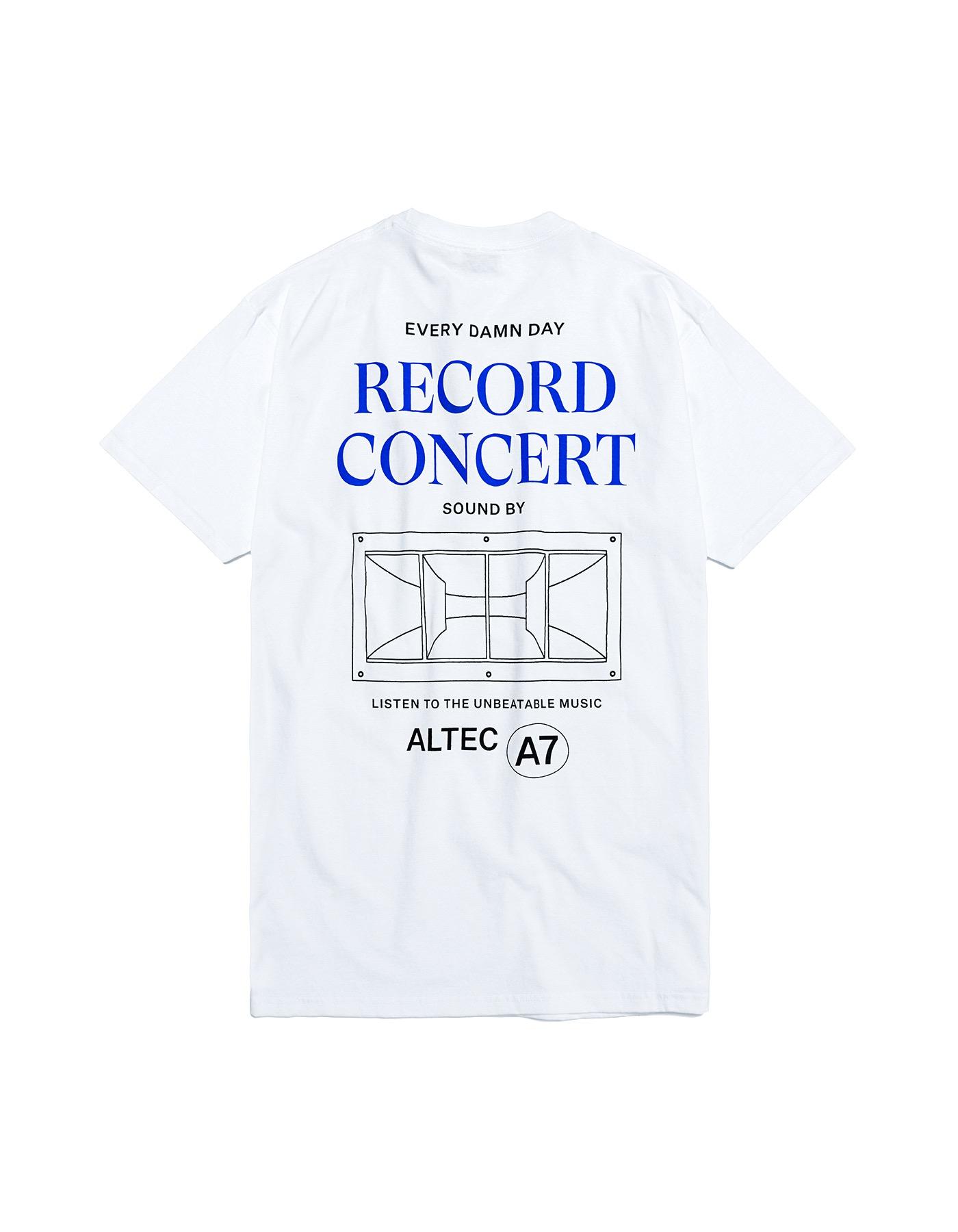 Record Concert Speaker T-shirts - White/Blue