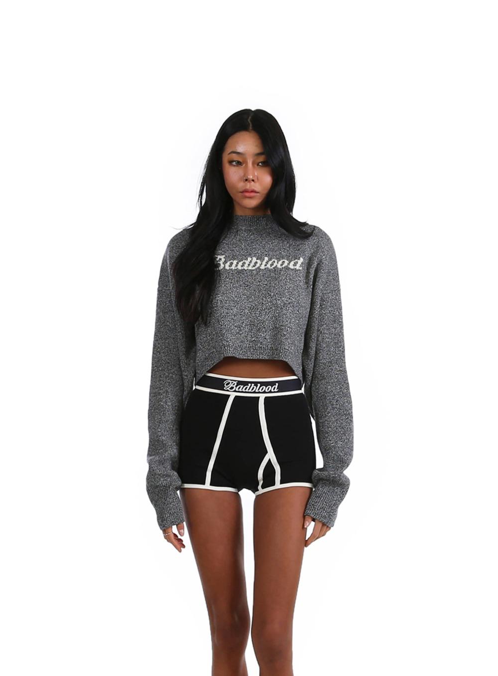 클래식 로고 오버랩트 크롭 스웨터 - 챠콜