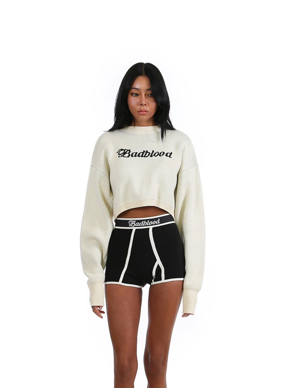 클래식 로고 오버랩트 크롭 스웨터 - 크림
