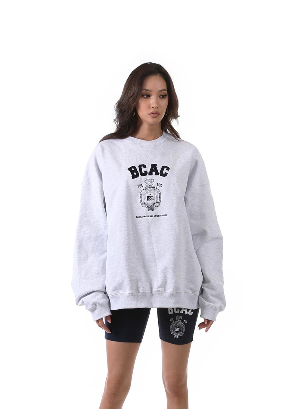 BCAC 엠블렘 크루넥 스웻셔츠 - 애쉬그레이