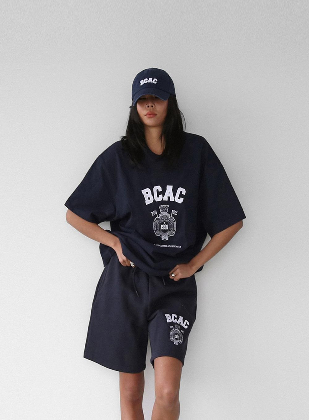 BCAC 엠블렘 러기드 코튼 박시 티 - 네이비