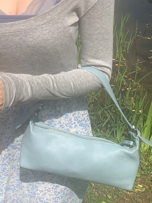 LEATHER MINI TOTE BAG(YELLOW, SKYBLUE, BLACK 3COLORS!)