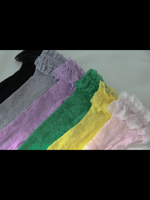 ROSEMARY LACE FRILL SOCKS(WHITE, YELLOW, PINK, GREEN, PURPLE, GREY, BLACK 7COLORS!)
