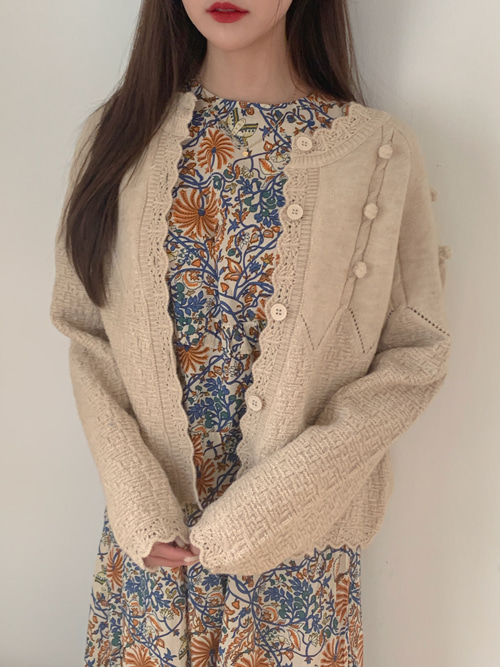 POMPOM WAVY KNIT CARDIGAN(IVORY, BEIGE, YELLOW, PINK, RED 5COLORS!)
