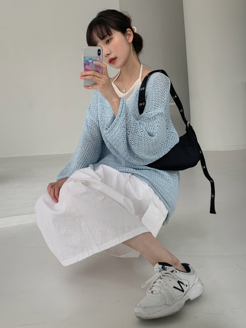 SUMMER V-NECK LOOSE KNIT(IVORY, YELLOW, PINK, SKYBLUE, BROWN 5COLORS!)