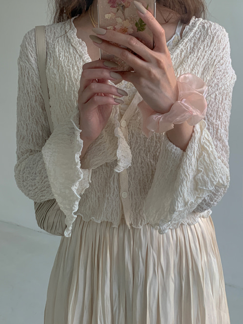 WRINKLE LACE BUTTON CARDIGAN(IVORY, BLACK 2COLORS!)