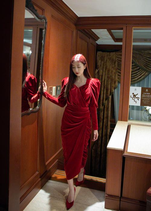 ROYAL VELVET WRAP LONG DRESS(PINK, RED, BLACK 3COLORS!)