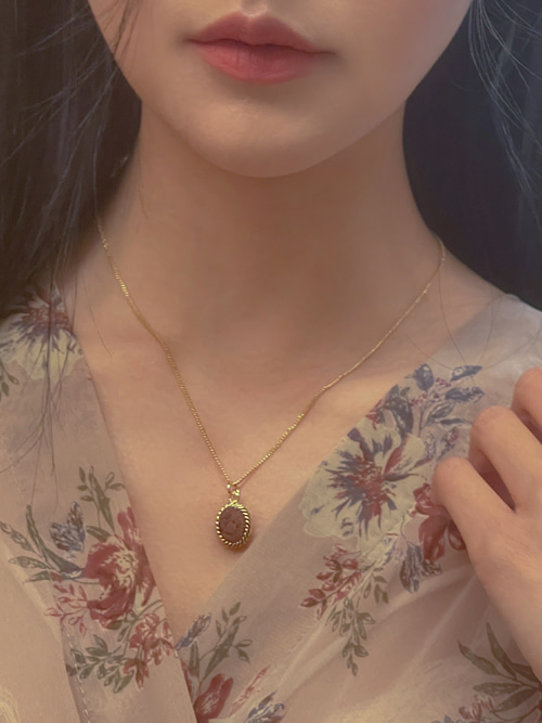 STONE GOLD NECKLACE(BROWN, GREY 2COLORS!)