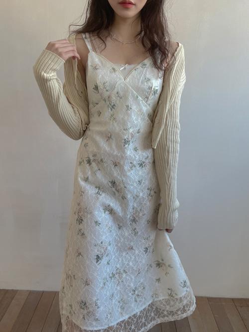 COZ LACE V-NECK SLIP DRESS(IVORY)