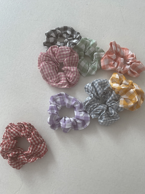 GINGHAM CHECK CHOUCHOU(YELLOW, ORANGE, PINK, RED, MINT, SKYBLUE, VIOLET, BLACK 8COLORS!)