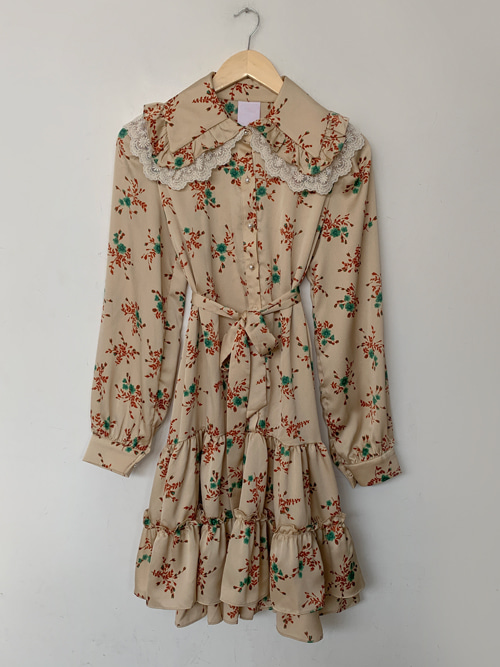 (VINTAGE)VINTAGE LACE COLLAR RUFFLE DRESS WITH BELT