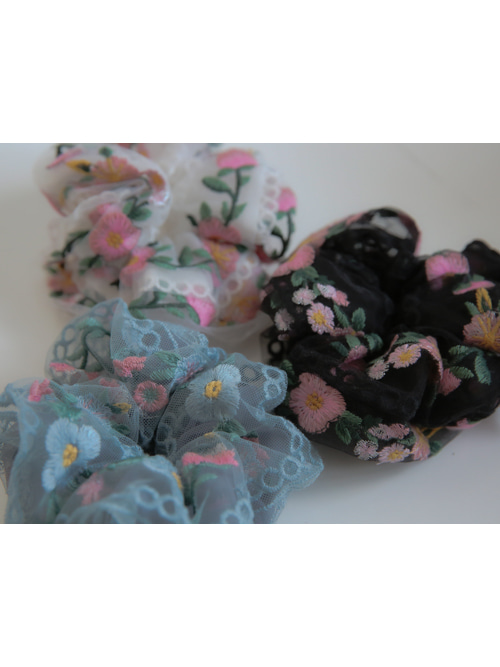PINK ROSE CHOUCHOU(WHITE, SKYBLUE, BLACK 3COLORS!)
