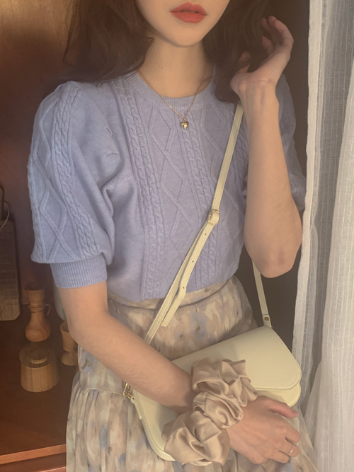 CABLE PUFF KNIT(CREAM, SKYBLUE, PINK 3COLORS!)