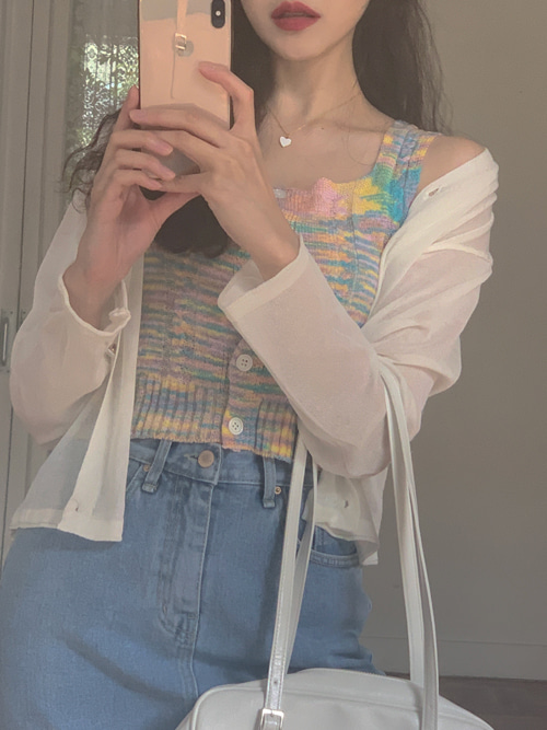 RAINBOW CROP BUTTON KNIT TOP(WHITE, PINK, RED 3COLORS!)