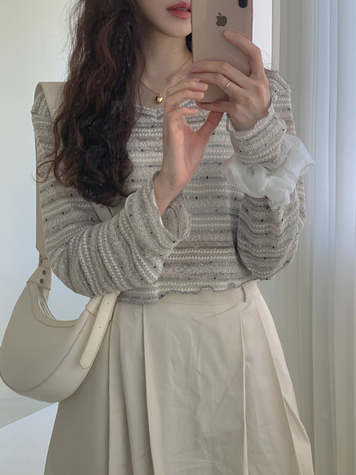 DEWY STRIPE LAYERED KNIT(WHITE, BEIGE 2COLORS!)