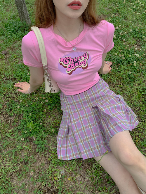CHERRY HIGHTEEN GRAPHIC T(WHITE, LIGHT PINK, PINK, GREY, BLACK 5COLORS!)
