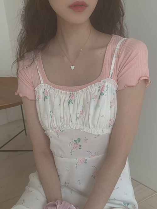 ELYSIA SIMPLE SQUARE NECK T(WHITE, PINK, SKYBLUE, BLACK 4COLORS!)